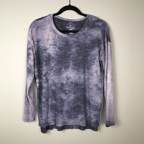 492bd91b75 American Eagle Outfitters Tops - AEO Soft   Sexy plush purple tie dye  pullover top